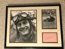 Stunning double photograph of Mike Hailwood with signature F1 MOTO GP IOM TT