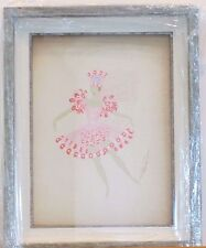"Erte ""Les Girls"" Rare Original Framed Gouache Ballerina Pink Tutu costume dancer"