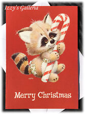Vintage Ruth Morehead Merry Christmas Raccoon Candy Cane Holidays So Sweet Card