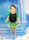 Rhinestone Anna Black Bodysuit Green Coronation Skirt Girl Baby Dress NB-18Month