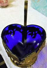 New listing Blue Glass Heart Shape Dish Encased In Floral Brass Holder Decoration Display