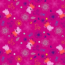 Nick Jr. Peppa Pig Plays In Flowers premium 100% cotton fabric by the yard