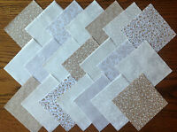 COTTON FABRIC PATCHWORK SQUARES PIECES CHARM PACK 2, 4 & 5 INCH ~ BEIGE / CREAM