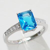 STYLISH 3 CT EMERALD CUT BLUE TOPAZ 925 STERLING SILVER RING SIZE 5-10