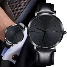 Mens Military Leather Band Quartz Analog Stainless Steel Couple Wrist Watch 2019