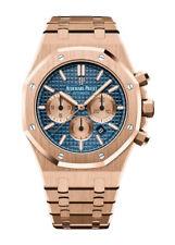 Audemars Piguet Royal Oak Chronograph Men's Pink Gold Wristwatch with Blue Dial