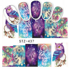 4 Sheets Owl Water Decals Dream Catcher Elephant Nail Art Transfer Stickers Tips