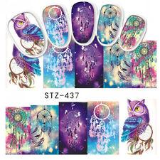 4 Blatt Eule Wasser Stickers Nail Art Dream Catcher Water Decal Tattoo Aufkleber
