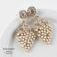 Boucles d`Oreilles Clip Pendante Mini Perle Grape Raisin Soirée Mariage N1