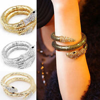 Fashion Woman Cuff Ring Jewelry Snake Crystal Hand Palm Bracelet Bangle Punk
