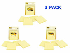 Post-it Notes, 3 x 3-Inches, Canary Yellow, 3 Packs of 4-Pads/Pack-12 Pads Total