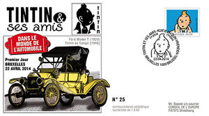 "FDC BELGIQUE ""TINTIN et ses Amis - VOITURE / FORD T - Tin Lizzie / Congo"" 2014"