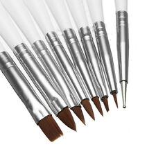 8 Pennelli Penne Punta Fini Per Nail Art Ricostruzione Unghie Acrilico Smalto UV