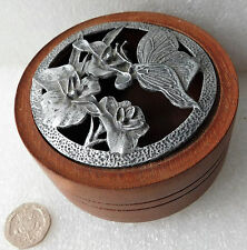 Vintage wooden trinket box Butterfly and flowers on lid Jar for pot pourri