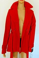 Woman's Trench Jacket Coat Vibrant Red Tie Belt Size 12 Fully Lined