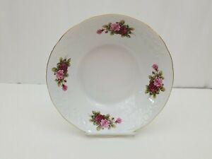 "Menuet Collection Serving Bowl 9.25""x2.5"" White w Roses Gold Trim Poland"