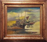 """Original Oil On Board Painting """"Old Boats"""" by Popa Popa's"""