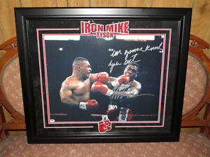 """Mike Tyson """"I'm Going To Knock You Out"""" Autographed Framed 16x20 Picture PSA"""