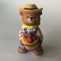 Vintage BC Bronson Teddy Bear Figurine Porcelain Bisque Farmer Apples Basket