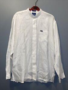 Men's XL Faconnable Long Sleeve Classique White/Cream Dress Shirt 100% Linen
