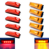"10Pcs 12V 4"" Red / Amber Trailer LED Clearance Side Marker Light w Base DOT 4LED"
