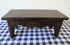 """Antique Foot Stool, Primitive Pine Wood, 7"""" Tall x 17"""" Long, Vintage Country"""