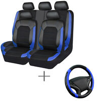 Universal Car Seat Cover Leather Mesh Blue Black Breathable Steering Wheel Cover