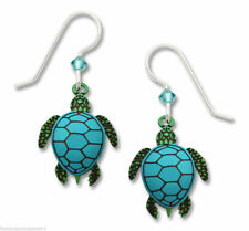 Turtle Earrings -925 Sterling Silver Ear Wires Teal Sea Turtle Jewelry Beach NEW