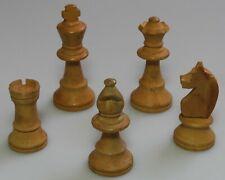 """5 Staunton . boxwood . white chess pieces . King 3"""" (75mm) tall ."""