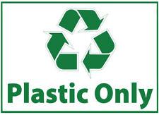 Cubo de residuos sólo de Plástico Auto Adhesivo Pegatina impresa con el logotipo de reciclaje signo