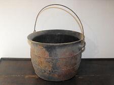 """OLD VTG ANTIQUE CAST IRON KETTLE CAULDRON COOKING BOILING STEW 11 5/8""""DIA POT"""