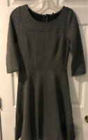 Modcloth Womens SzS Textured Print Gray Fit And Flare 3/4 Sleeve Dress NEW