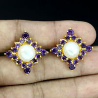 Unheated Round Purple Amethyst 4mm White Pearl 925 Sterling Silver Earrings
