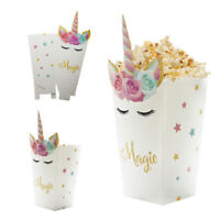 6pcs Popcorn Box Candy/Sanck Bags Unicorn Pattern Gift Bags Wedding Party Decor