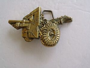 Belt Buckle Military Howitzer Cannon WWII Vintage Solid Brass Gold Tone