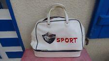 sac de sport  Sport logo coq simili cuir blanc vintage compartiment chaussures