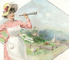 LADY with A SPY GLASS, CLARK'S ONT THREAD TRADE CARD, NOON  IN THE VALLEY  C964