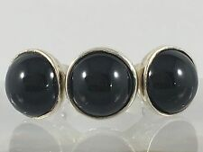 Vintage Sterling Silver Statement Triple Jet Black Onyx Cabochon Ring Jewellery