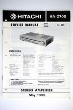 Hitachi ha-2700 amplificador original manual de servicio/Instrucciones/