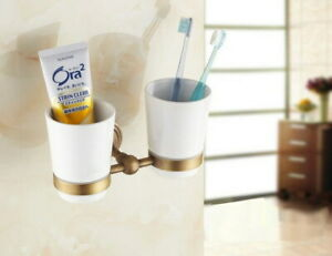 2 Ceramic Cups Antique Brass Bathroom Wall Mounted Toothbrush Holder 2ba033
