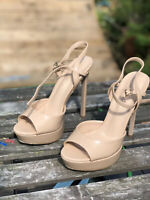 "OFFICE Size 6 39 Nude Beige 5.5"" heel on 1.5"" Platform Sandals High Stiletto"