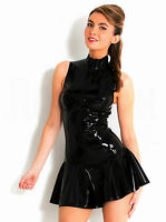 Black Latex Leather PVC Wet Look Dress Sexy Clubwear Bodysuit Dance Costume