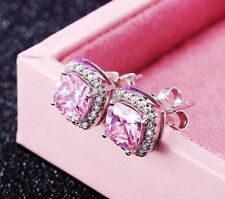 Sterling Silver Pave Cubic Zirconia CZ 8mm Square Pink Stud Earrings Gift Box S1