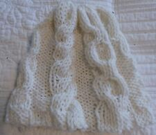 "Hand Knit White Cable Hat 7.5"" x 8"""