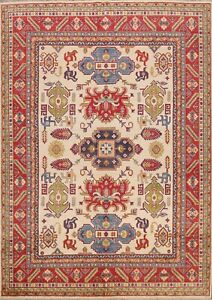 Vegetable Dye Tribal Ivory Super Kazak Area Rug Geometric Oriental Handmade 8x10