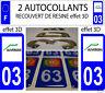 2 STICKERS RECOUVERT DE RESINE PLAQUE D IMMATRICULATION DEPARTEMENT 03 ALLIER