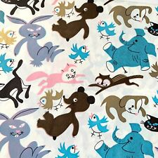 Vtg Mcm Novelty Print Animals Wrapping Paper Gift Wrap Unused Sheet 26 x 20