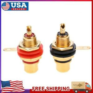 2pcs Gold Plated Female RCA Phono Jack Panel Mount Chassis Socket Connector