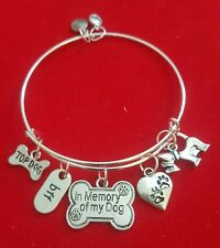 "Silver ""Dog Bereavement"" Themed Charm Bracelet"