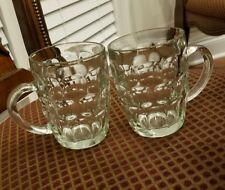 Pair of Clear Thumbprint Glass 1 Pint/20 oz Beer Mugs